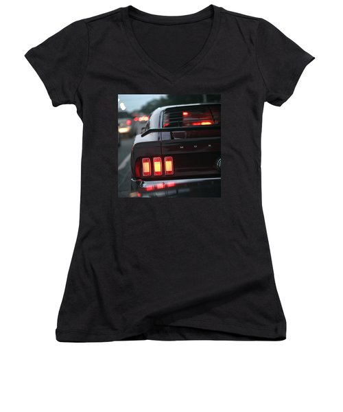 1969 Ford Mustang Mach 1 Women's V-Neck (Athletic Fit)