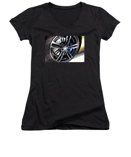 Women's V-Neck T-Shirt (Junior Cut) featuring the photograph 2015 Bmw M4 by Aaron Berg
