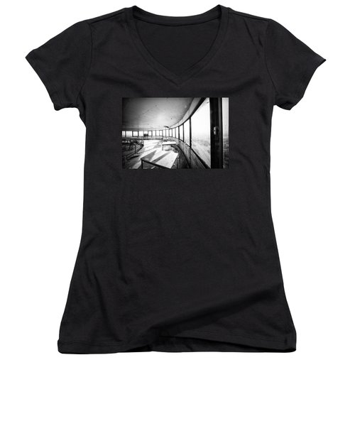 Abandoned Tower Restaurant - Urban Exploration Women's V-Neck T-Shirt