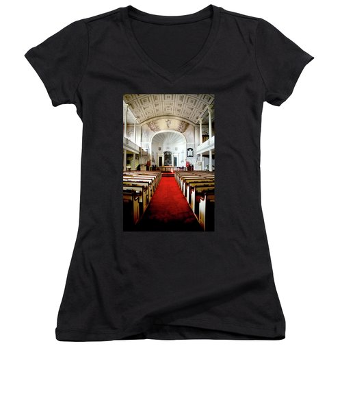 Women's V-Neck T-Shirt (Junior Cut) featuring the photograph Aisle Of God by Greg Fortier