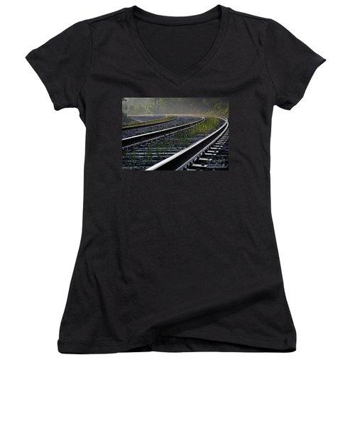Around The Bend Women's V-Neck T-Shirt (Junior Cut) by Douglas Stucky