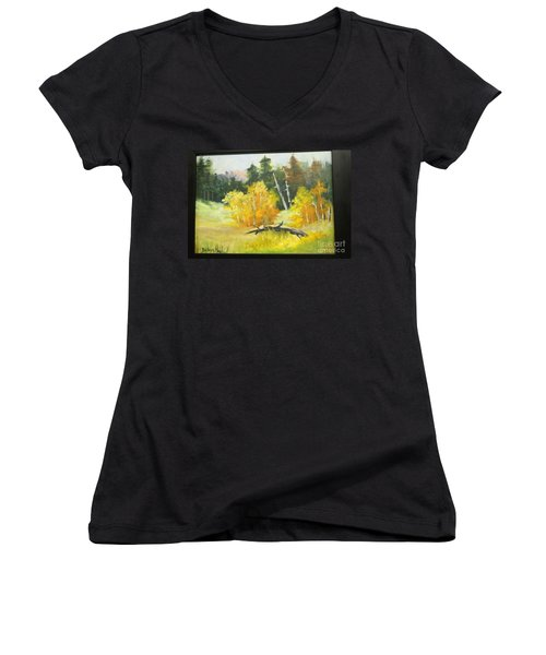 Aspens En Plein Air Women's V-Neck T-Shirt (Junior Cut)