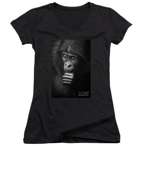 Women's V-Neck T-Shirt (Junior Cut) featuring the photograph Baby Bonobo Portrait by Helga Koehrer-Wagner