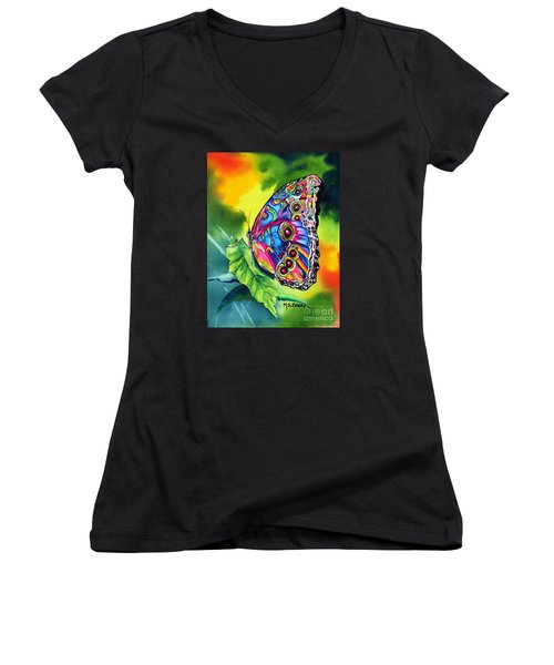 Women's V-Neck T-Shirt (Junior Cut) featuring the painting Beatrice Butterfly by Maria Barry