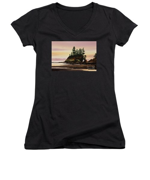 Women's V-Neck T-Shirt (Junior Cut) featuring the painting Beautiful Shore by James Williamson