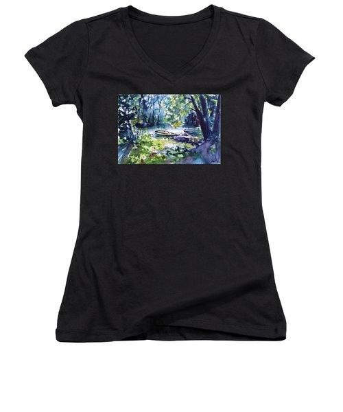 Women's V-Neck T-Shirt (Junior Cut) featuring the painting Boat by Kovacs Anna Brigitta
