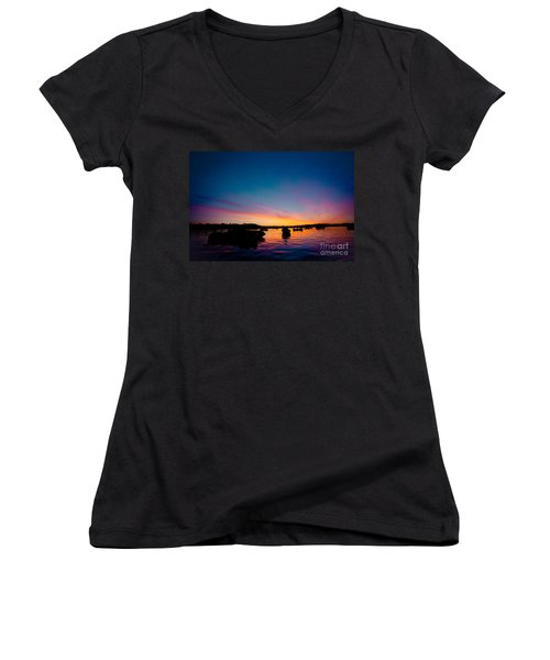 Boats And Sunrise Above Lake Water Summer Time Latvia Ezera Skanas Women's V-Neck