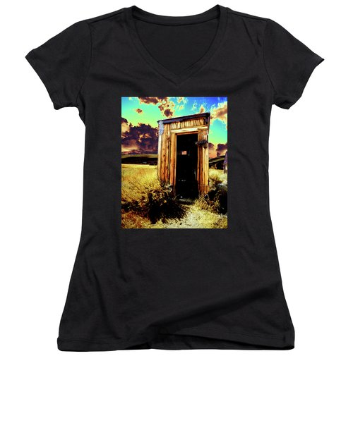 Women's V-Neck T-Shirt (Junior Cut) featuring the photograph Bodie Outhouse by Jim and Emily Bush