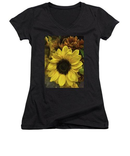 Bright Bouquet Women's V-Neck T-Shirt (Junior Cut) by Arlene Carmel