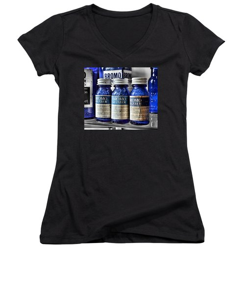 Bromo Seltzer Vintage Glass Bottles Collection Women's V-Neck