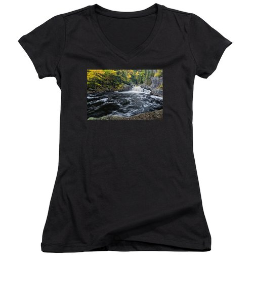 Women's V-Neck featuring the photograph Buttermilk Falls Gulf Hagas Me. by Michael Hubley