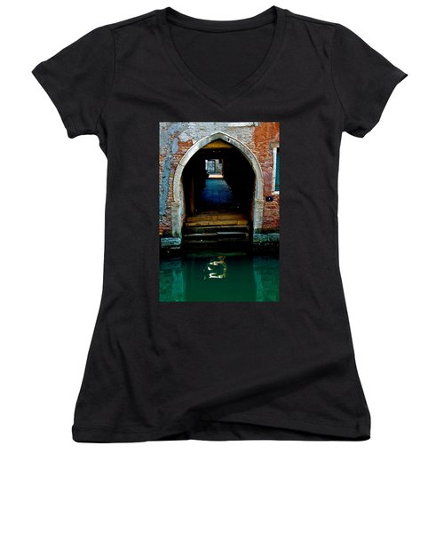 Canal Entrance Women's V-Neck T-Shirt (Junior Cut) by Harry Spitz