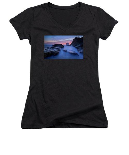 Women's V-Neck T-Shirt (Junior Cut) featuring the photograph Cape Kiwanda by Evgeny Vasenev