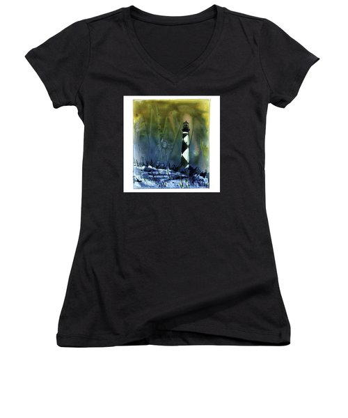 Women's V-Neck T-Shirt (Junior Cut) featuring the mixed media Cape Lookout Lighthouse by Ryan Fox