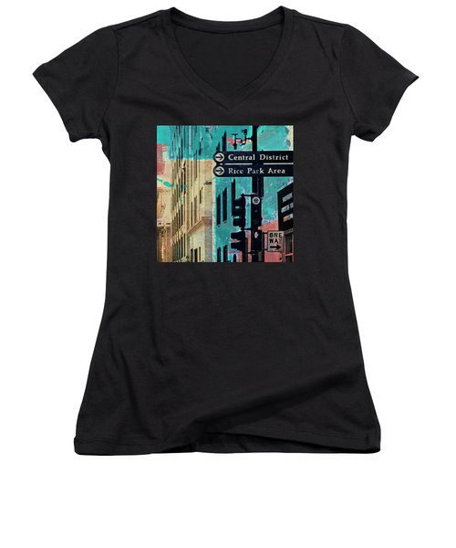 Women's V-Neck T-Shirt (Junior Cut) featuring the photograph Central District by Susan Stone