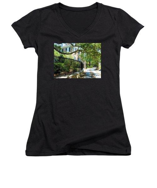 Charming Charleston Women's V-Neck T-Shirt (Junior Cut) by Kay Gilley