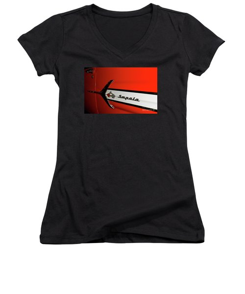 Chevy Impala Women's V-Neck T-Shirt (Junior Cut)