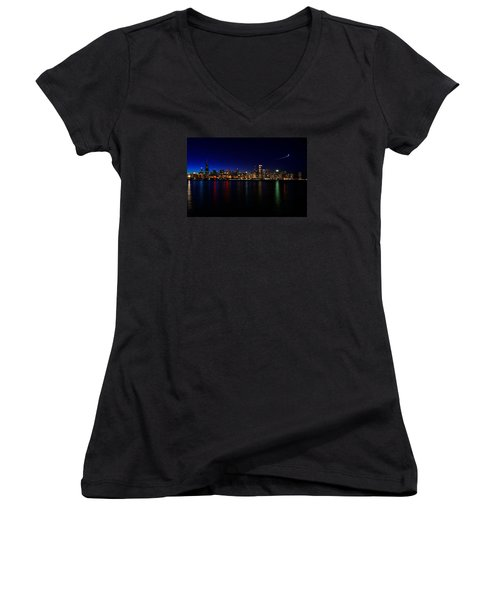 Women's V-Neck T-Shirt (Junior Cut) featuring the photograph Chicago-skyline 3 by Richard Zentner