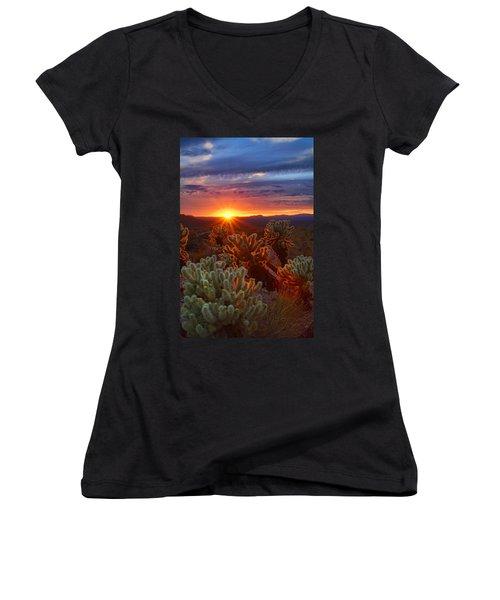 Cholla Sunset  Women's V-Neck