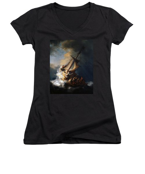 Christ In The Storm On The Lake Of Galilee Women's V-Neck