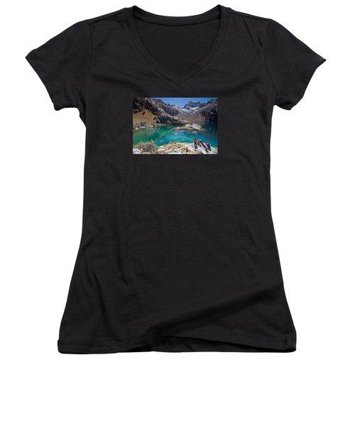 Churup Lake Women's V-Neck T-Shirt (Junior Cut) by Aivar Mikko