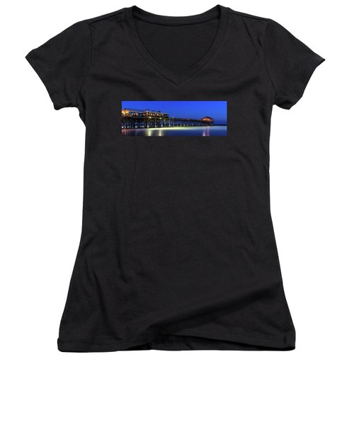 Cocoa Beach Pier At Twilight Women's V-Neck (Athletic Fit)