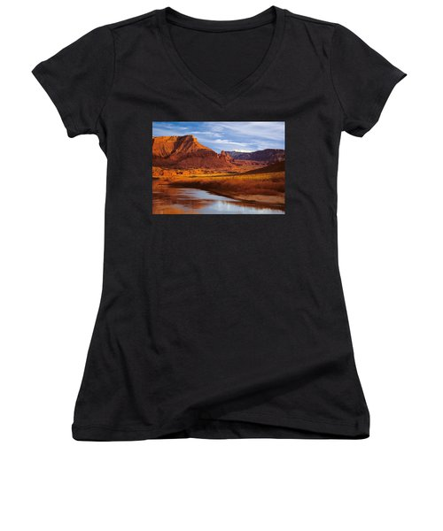 Colorado River At Fisher Towers Women's V-Neck T-Shirt (Junior Cut) by Utah Images