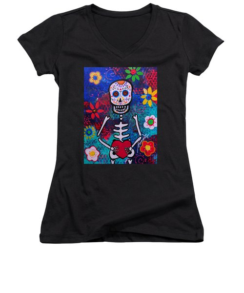 Corazon Day Of The Dead Women's V-Neck