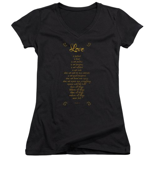 1 Corinthians 13 Love Is Black Background Women's V-Neck T-Shirt (Junior Cut) by Rose Santuci-Sofranko