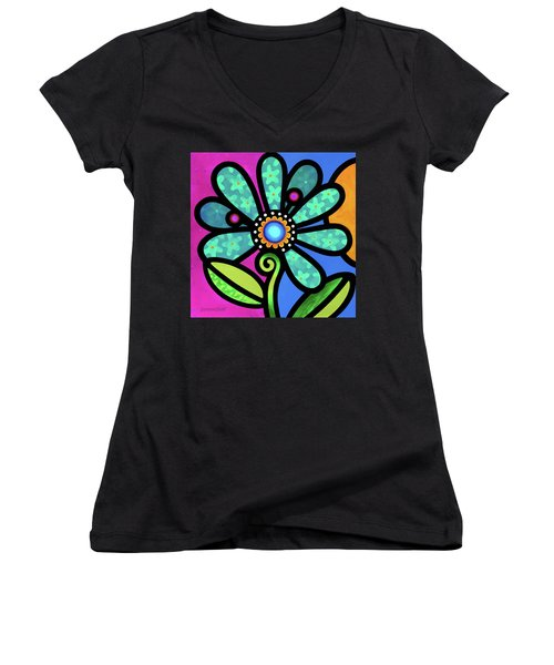 Cosmic Daisy In Aqua Women's V-Neck