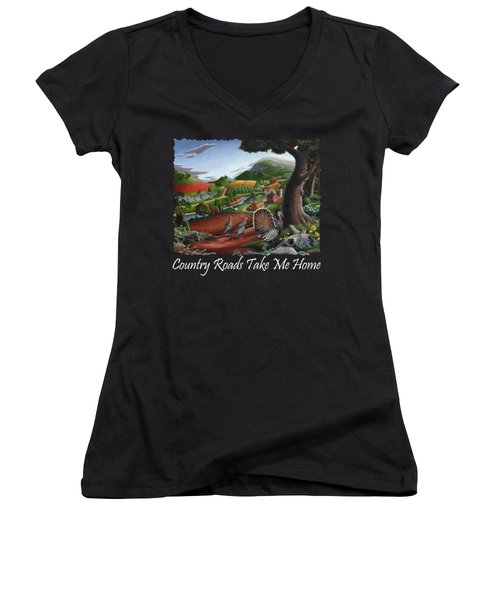 Country Roads Take Me Home T Shirt - Turkeys In The Hills Country Landscape 2 Women's V-Neck T-Shirt (Junior Cut) by Walt Curlee