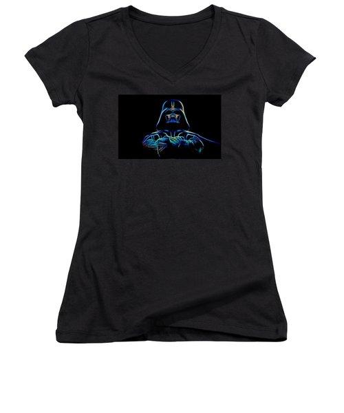 Women's V-Neck T-Shirt (Junior Cut) featuring the digital art Darth Vader by Aaron Berg