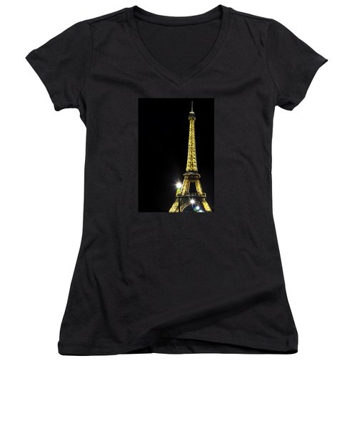 Women's V-Neck T-Shirt (Junior Cut) featuring the photograph Eiffel At Night by Andrew Soundarajan