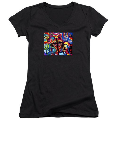 Crosses To Bear Women's V-Neck T-Shirt (Junior Cut) by Marina Petro