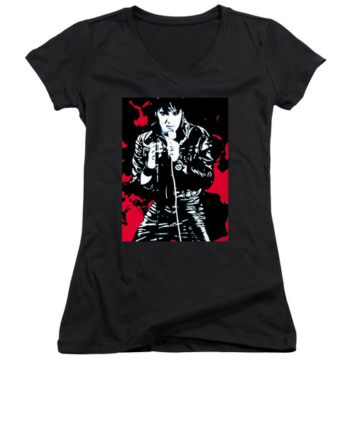 Elvis Women's V-Neck T-Shirt (Junior Cut) by Luis Ludzska