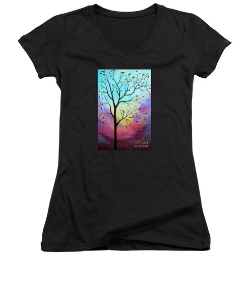 Women's V-Neck T-Shirt (Junior Cut) featuring the painting Enchanted Aura by Stacey Zimmerman