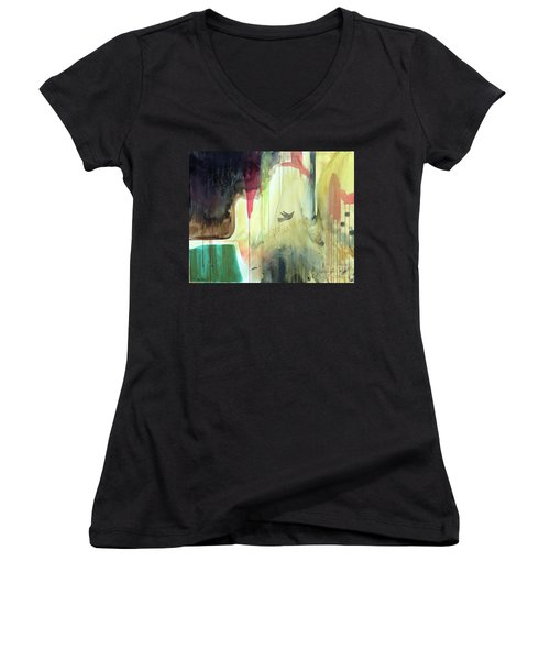 Women's V-Neck T-Shirt featuring the painting Envisage by Robin Maria Pedrero