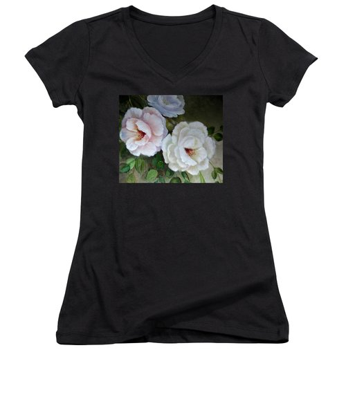 Women's V-Neck T-Shirt (Junior Cut) featuring the painting Etre Fleur  by Patricia Schneider Mitchell