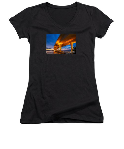 Evening On The Boardwalk Women's V-Neck T-Shirt