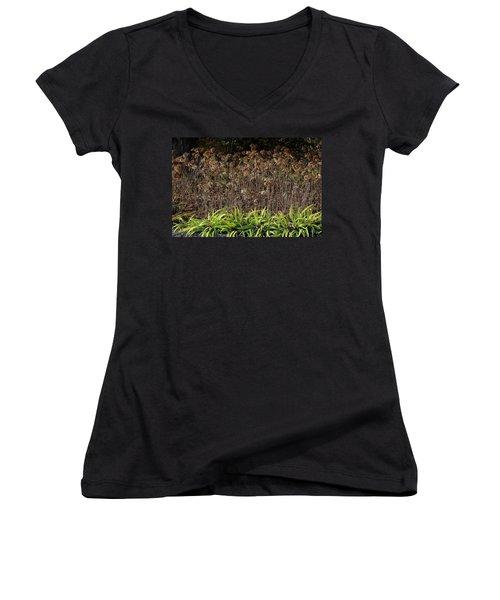 Women's V-Neck T-Shirt (Junior Cut) featuring the photograph Fall Contrasts by Deborah  Crew-Johnson
