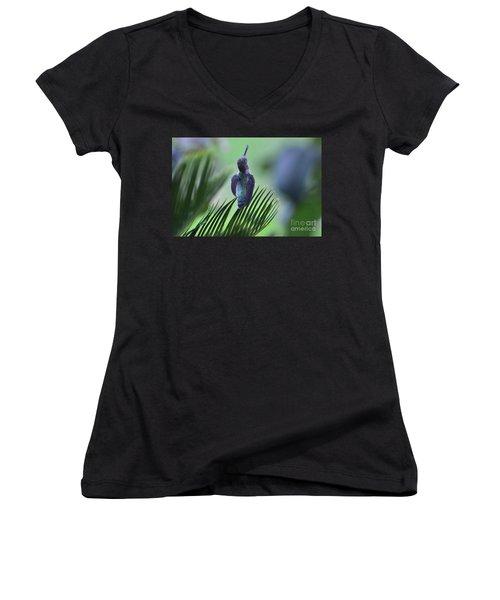 Women's V-Neck T-Shirt (Junior Cut) featuring the photograph First Warning by Debby Pueschel
