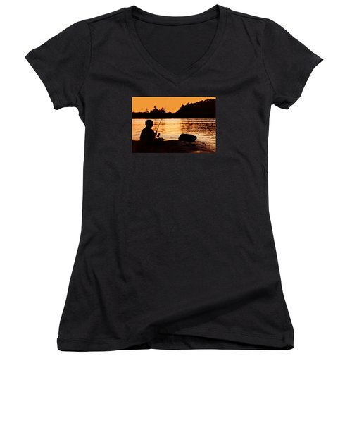 Fishing From A Rock  Women's V-Neck T-Shirt