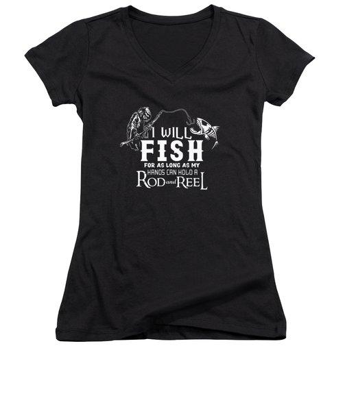 Fishing Women's V-Neck T-Shirt (Junior Cut) by Thucidol
