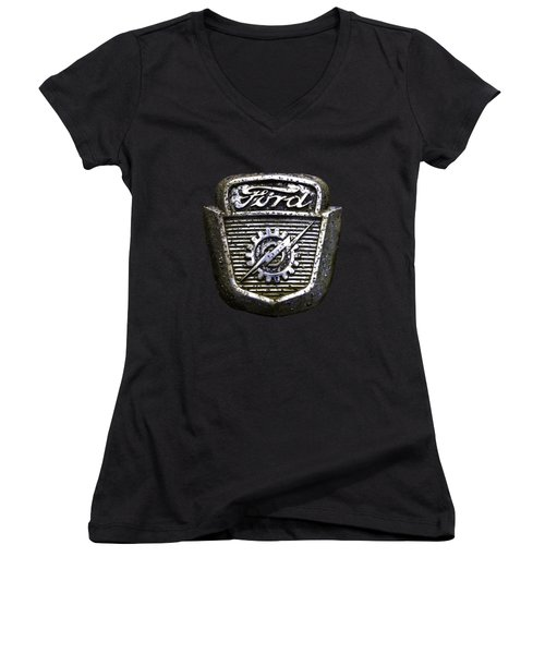 Women's V-Neck T-Shirt (Junior Cut) featuring the photograph Ford Emblem by Debra and Dave Vanderlaan