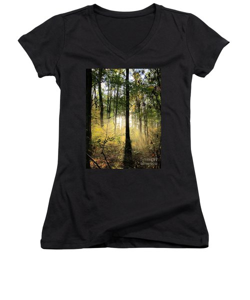 Forest Light  Women's V-Neck (Athletic Fit)