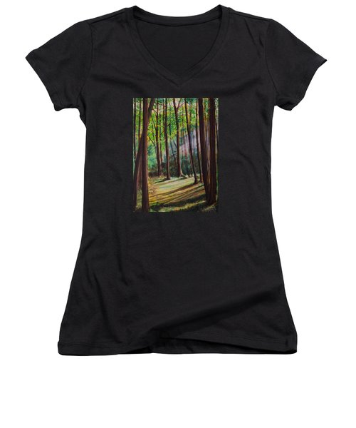 Women's V-Neck T-Shirt (Junior Cut) featuring the painting Forest Light by Ron Richard Baviello