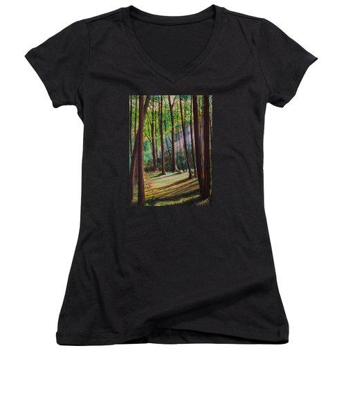 Forest Light Women's V-Neck T-Shirt