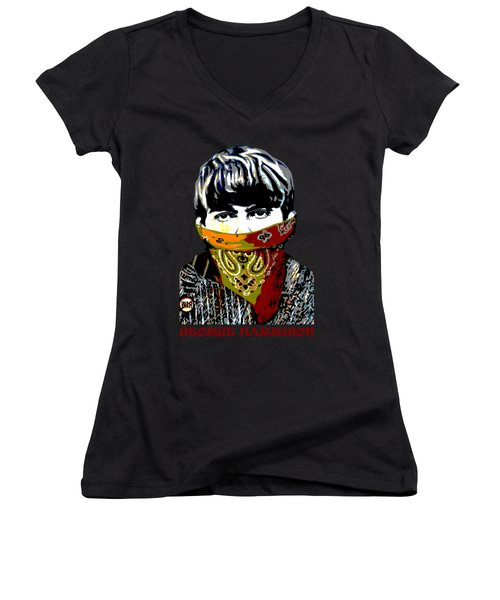 George Harrison Women's V-Neck T-Shirt (Junior Cut) by RicardMN Photography