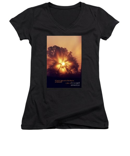 God Is Light Women's V-Neck (Athletic Fit)