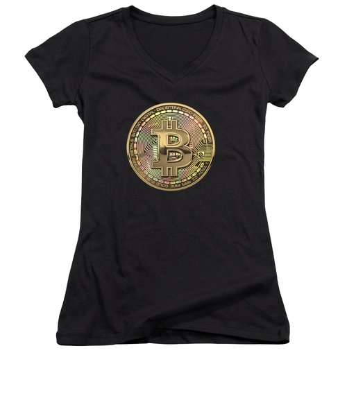 Gold Bitcoin Effigy Over Black Canvas Women's V-Neck